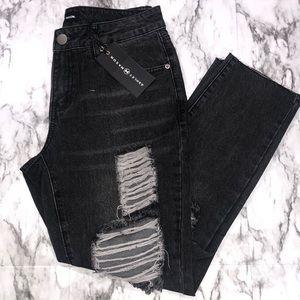 Ashley Mason Dark Grey Distressed Crop Jeans NWT